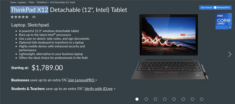联想ThinkPad X12 Detachable 二合一平板海外发布 支持Wi-Fi 6无线网络