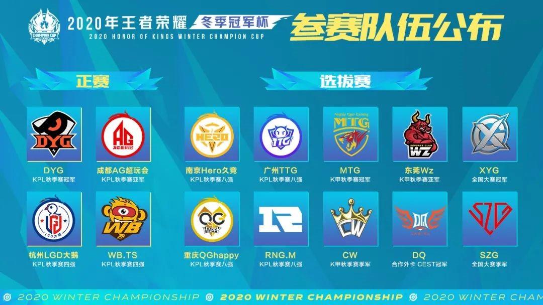 《王者荣耀》2020 冬季冠军杯总决赛落地深圳南山 参赛队伍由两部分组成