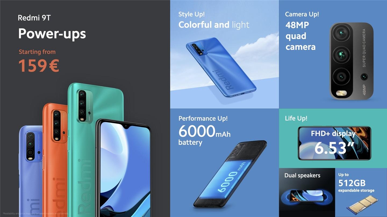 Redmi 9T发布:配备6000mAh电池 支持18W快充