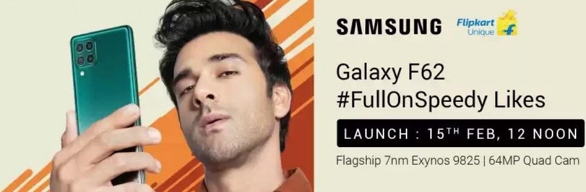 三星Galaxy F62宣传海报放出 内置7000mAh超大容量电池