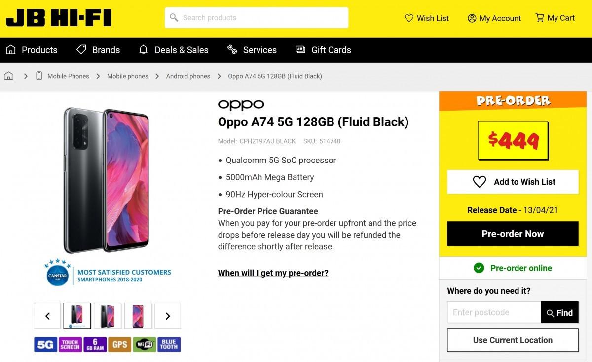 OPPO A74 5G现身海外电商平台:搭载90Hz刷新率屏幕 拥有5000mAh电池