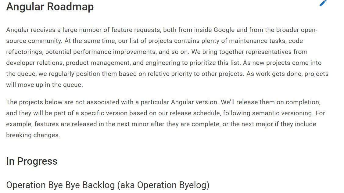 Angular发布首个正式的路线图 保持每季度至少维护一次