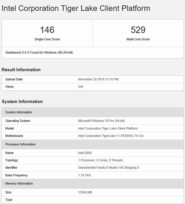 英特尔新款Y系列处理器曝光:多核分数为529分 主频为1.19GHz