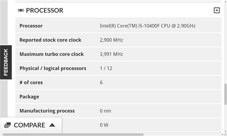 英特尔i5-10400F曝光:增加了超线程 主频2.9GHz