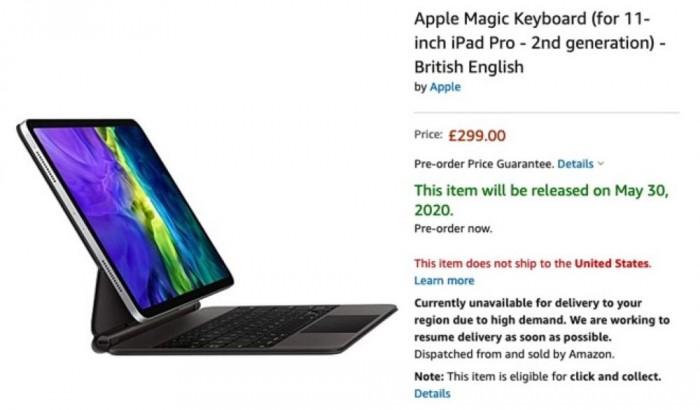 适用于新款iPad Pro的妙控键盘现身亚马逊英国 产品零售价为2399元